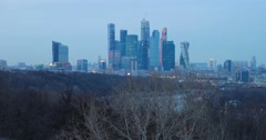 View from the observation deck on the Sparrow hills on high-rise buildings, dusk Stock Footage