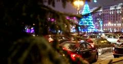 Heavy snow, the Christmas tree on Pushkinskaya square, cars under snow Stock Footage