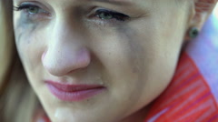 View of smudge, female face crying about her problems Stock Footage