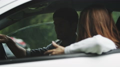 4K Unhappy couple arguing in car Stock Footage