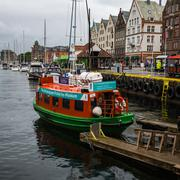 BERGEN, NORWAY-JULY 16: Ship on Bryggen 16, 2016 in Bergen, Norway. The ship  Stock Photos