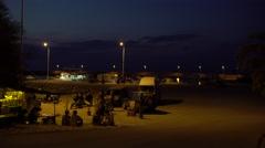 Small Island Port at Night 4K Stock Footage