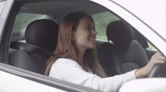4K Portrait of attractive young girl admiring her new car Stock Footage