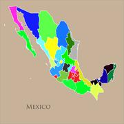 Contour map of Mexico on a cream background Stock Illustration