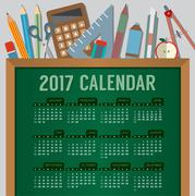Flat Design Top View Education Concept 2017 Printable Calendar Starts Sunday Stock Illustration