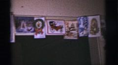 1966: christmas cards and decorations TUCSON, ARIZONA Stock Footage