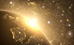 Yellow sunrise, sunburst, future earth seen froom space Stock Illustration