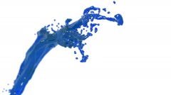 Flying blue fluid stream in slow motion DOF. syrup Stock Footage