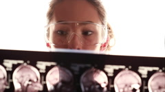 Young doctor examines tomogram closeup Stock Footage