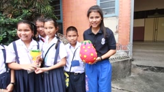 Activity of primary school education. student present Paper Mache. Stock Footage