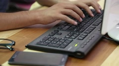 Computer keyboard typing online Stock Footage