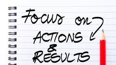 Focus On Actions and Results written on notebook page Stock Photos