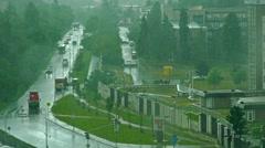 PRAGUE, CZECH REPUBLIC rainy urban street in the city - passing cars Stock Footage