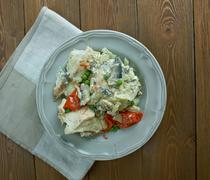 Chicken fricassee  style of Alsace Stock Photos