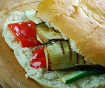 Grilled Ratatouille Muffuletta Sandwich Stock Photos