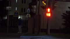 Traffic light at night. 4K shot Stock Footage
