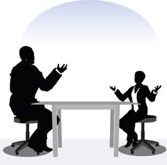 Business man and woman silhouette in meeting pose Stock Illustration