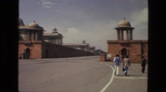 1974: the scene shows a monument area in india and people have come to visit  Stock Footage