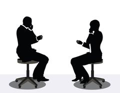 Business man and woman silhouette on phone Stock Illustration