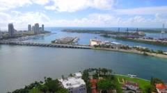 Aerial movie Miami Beach star island 4k Stock Footage