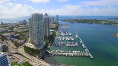 Aerial Miami Beach Marina and Fisher Island Stock Footage