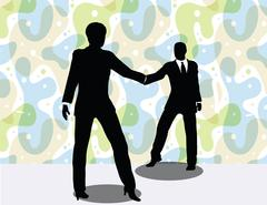 Business man and woman silhouette in handshake pose Stock Illustration