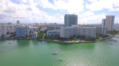 Miami Beach waterfront condos aerial footage 4k Stock Footage