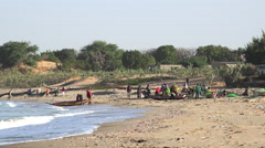 Group of African fishermen in the beach - Africa, Senegal Stock Footage