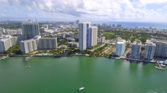 Aerial video of bay coast Miami Beach Stock Footage