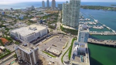 Miami Beach high-rise condos south of fifth street aerial Stock Footage