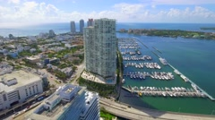 Aerial tour Miami Beach and marina Stock Footage