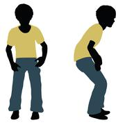 Boy silhouette in Landing Pose Stock Illustration