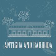 Antigua and Barbuda landmarks. Admiral`s House. Retro styled image Stock Illustration