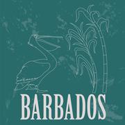 Barbados national symbols. Pelican, sugarcane. Retro styled image Stock Illustration