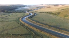 Aerial views of Cuckmere River Stock Footage