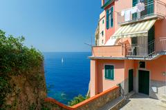 Manarola. The famous medieval village with colorful houses. Stock Photos