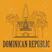 Dominican republic landmarks. Saint Altagracia basilica. Retro styled image Stock Illustration