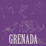 Grenada national symbols. Antillean Armadillo, Grenadian pigeon, dove. Retro  Stock Illustration