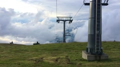Time-lapse.Ski center in the mountains in summer evening. Stock Footage