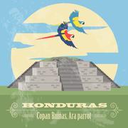 Honduras landmarks. Copan Ruinas, ara parrot. Retro styled image Stock Illustration