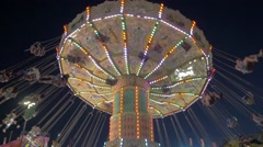 Toronto CNE The Ex Night Spinning Swings Close Up Slow Motion Stock Footage