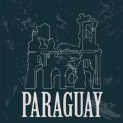 Paraguay landmarks. Ruinas de Humaita. Jesuit of Jesus ruins. Retro styled im Stock Illustration
