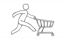 Sketch of a faceless man running very fast with an empty grocery cart on whee Arkistovideo