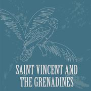 Saint Vincent and the Grenadines national symbols. Amazona guildingii parrot. Stock Illustration