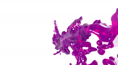 Flying purple fluid stream in slow motion DOF. syrup Stock Footage