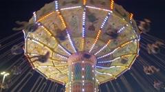 Toronto CNE The Ex Night Spinning Swings Close Up Stock Footage