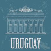 Uruguay landmarks. Theater Solis, Montevideo. Retro styled image Stock Illustration