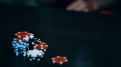 Poker game - throw the cards near the poker chips Stock Footage