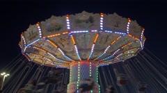 Toronto CNE The Ex Night Spinning Swings Stock Footage