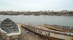 African cityscape in the Senegal river - Saint Louis, Senegal Stock Footage